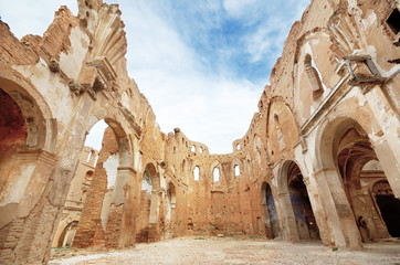 Ruins of old church destroyed in spanish civil war in Belchite
