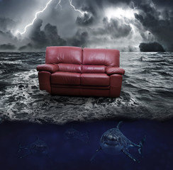 A sofa on the sea