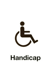 handicap sign isolated on white background