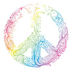 Symbol of peace. Beautiful pattern of rainbow colors