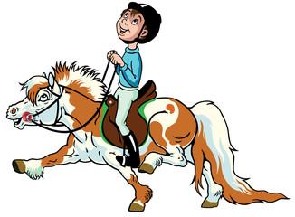 cartoon boy riding shetland pony