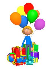 boy celebrating his birthday, 3d cartoon