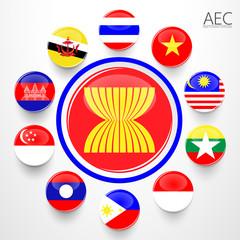 AEC, Asean Economic Community flag symbols. Vector illustration