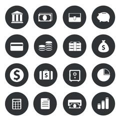 Banking Icons on black circle.