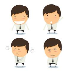 Businessman set of characters emoticons cartoon. Vector illustra
