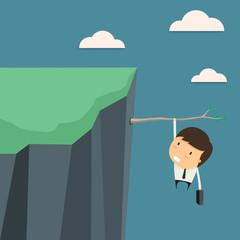 Businessman In business risks. Vector illustration.
