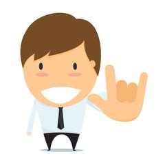 Businessman show hands i love you sign language.