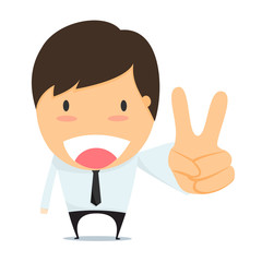 Businessman with two fingers up.
