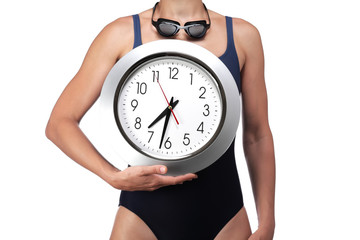 swimmer showing a clock