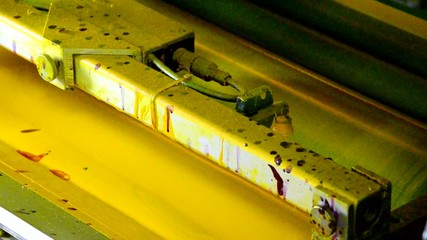 Yellow ink of a offset printing press industrial machine