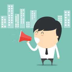 Concept of businessman with holding speak megaphone.