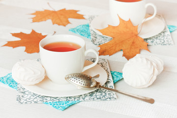 Autumn tea drinking.