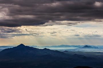 Dark sky over mountains