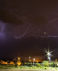 Thunderstorm at night time