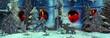 canvas print picture - Romantische Weihnachten: Weihnachtskarte in Rot, Blau, Holz