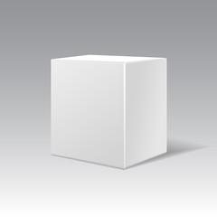 White cardboard gift cubic box