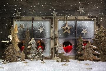 Romantische Weihnachtszeit: Weihnachtskarte in Rot, Weiß, Kerzen