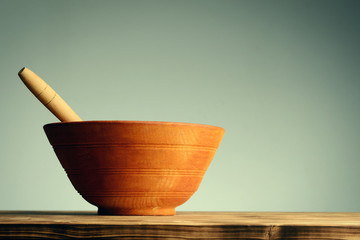 Vintage wooden bowl for spice and food cooking