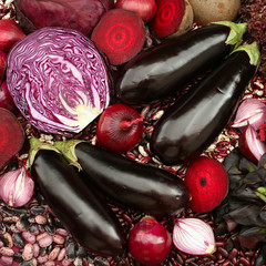 Blue red purple colored vegetables composition