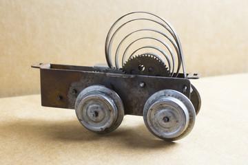 Rest of an old clockwork toy locomotive