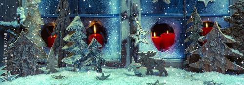 canvas print picture Romantische Weihnachten: Weihnachtskarte in Rot, Blau, Holz