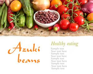 Dry organic azuki beans and vegetables