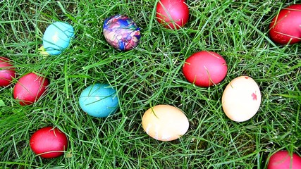 Easter egg hunting in grass, closeup