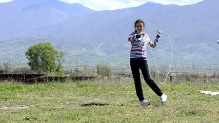 Girl skipping rope, nice exercise play