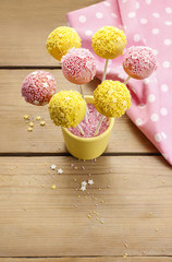 Yellow and pink cake pops