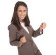 Erfolgreiche lachend junge Karriere Frau isoliert