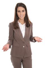 Körpersprache Hände: Business Frau hält eine Rede