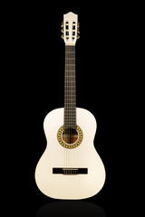Classical white acoustic guitar