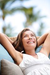Sofa Woman relaxing enjoying lifestyle in luxury