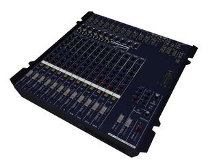 Table de mixage audio sur fond blanc