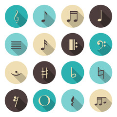 Music notes color icons set