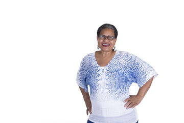 Older black woman on white