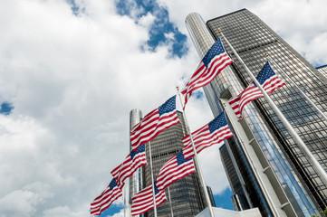 USA flag in front Ren cen