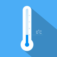 Thermometer cool winter temperature. Vector illustration.