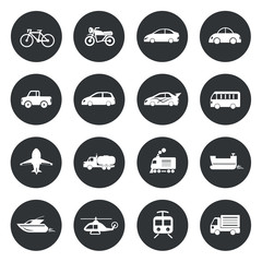 Transport circle Icons waterways, overland, air. Vector illustra