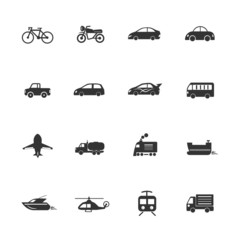 Transport vehicles Icons waterways, overland, air