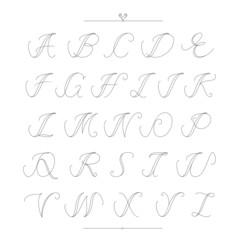 Vintage type font filigree set of calligraphic alphabet style. V
