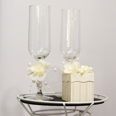 Champagne glasses and gift box