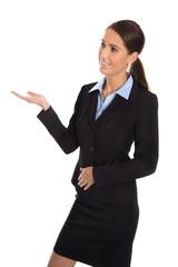 Professionelle Business Frau isoliert präsentiert etwas