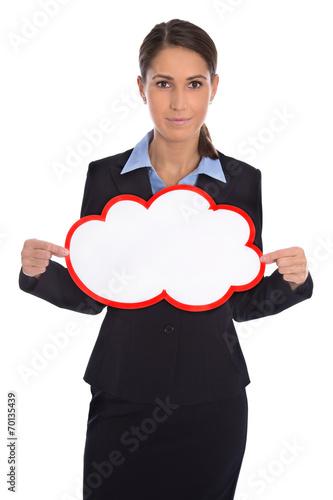 canvas print picture Präsentation oder Promotion: Frau business mit Schild