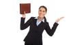 Business Frau freigestellt glücklich über die Beförderung