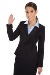 Vertrieb: Berater weiblich isoliert zeigt mit der Hand
