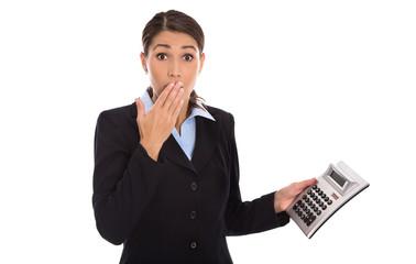 Schockierte isolierte Business Frau: Konzept steigende Kosten