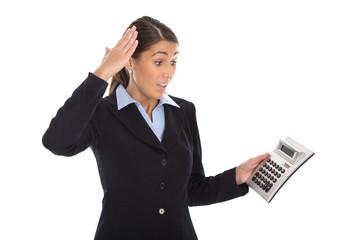 Negatives Betriebsergebnis - Verlust: schockierte Geschäftsfrau