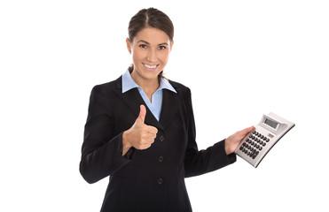 Erfolgeiche freigestellte Geschäftsfrau macht eine Empfehlung