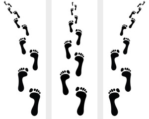 Trail of human bare footsteps, vector illustration